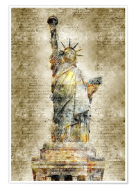 Premium poster  Statue of liberty New York in modern abstract vintage look - Michael artefacti