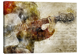 Canvas  Guitar musician in abstract modern vintage look - Michael artefacti