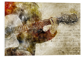 Foam board print  Guitar musician in abstract modern vintage look - Michael artefacti