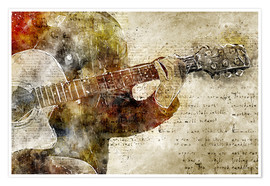 Premium poster  Guitar musician in abstract modern vintage look - Michael artefacti