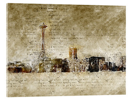 Acrylic print  Seattle skyline in modern abstract vintage look - Michael artefacti