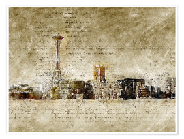 Premium poster  Seattle skyline in modern abstract vintage look - Michael artefacti