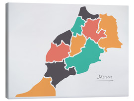 Canvas print  Morocco map modern abstract with round shapes - Ingo Menhard