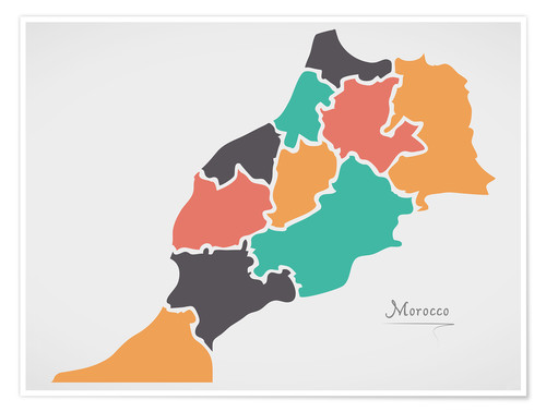 Premium poster Morocco map modern abstract with round shapes