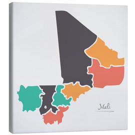 Canvas print  Mali map modern abstract with round shapes - Ingo Menhard