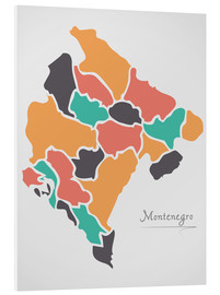 Foam board print  Montenegro map modern abstract with round shapes - Ingo Menhard