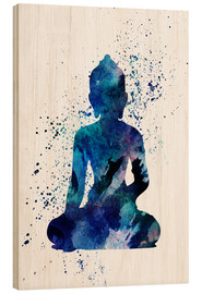 Wood print  Blue Buddha - Dani Jay Designs