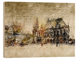 Wood print  Bremen market marketplace modern and abstract - Michael artefacti