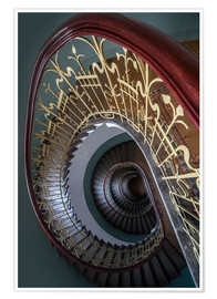 Premium poster Spiral stairs with ornamented handrail