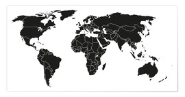 Premium poster  World map black and white