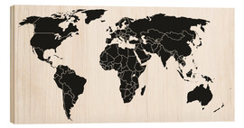 Wood  World map black and white
