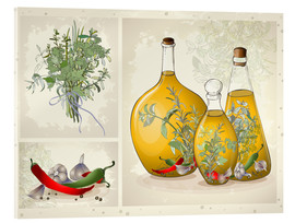 Acrylic print  Kitchen herbs collage
