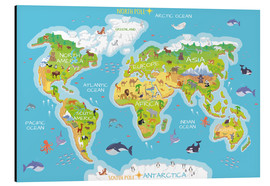 Alu-Dibond  World map with animals - Kidz Collection