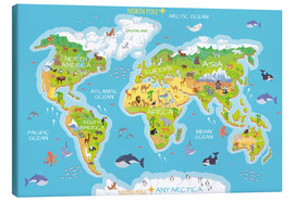 Canvas  World map with animals - English - Kidz Collection