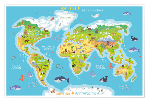 Kidz Collection World Map With Animals Poster Posterlounge