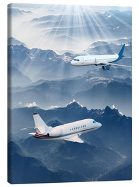Canvas print  Two aircrafts over the mountains