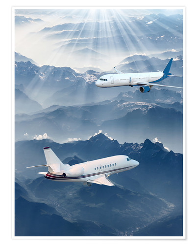 Premium poster Two aircrafts over the mountains