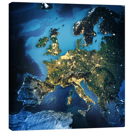 Canvas print  Europe from Space, NASA 3D Rendering