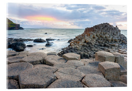 Acrylic print  Sunset at Giant's Causeway in North Antrim, Northern Ireland