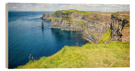 Wood print  The famous cliffs of Moher in Ireland