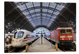 Aluminium print  ICE and InterRegio trains in the central station