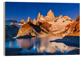 Wood print  Mount Fitz Roy in Los Glaciares National Park, Argentina