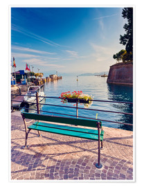 Premium poster  Bench on the coast of Garda in Peschiera