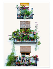 Premium poster  Facade with balconies full of flowers in Valencia