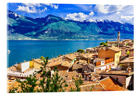 Acrylic print  Beautiful Limone village, panoramic view, Lago di Garda, Italy