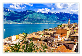 Premium poster  Beautiful Limone village, panoramic view, Lago di Garda, Italy