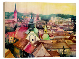 Wood print  Graz, view to the cathedral - Johann Pickl