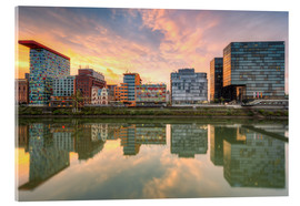 Acrylic print  Düsseldorf Reflection in the Media Harbor at sunset - Michael Valjak