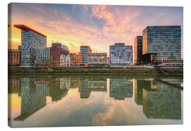 Canvas print  Düsseldorf Reflection in the Media Harbor at sunset - Michael Valjak