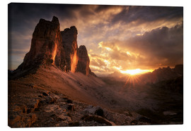 Canvas print  Three Peaks Dolomites Sunset - Christian Möhrle