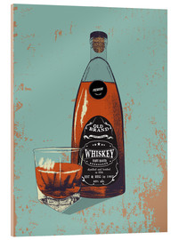 Acrylic print  Whiskey bottle and glass