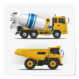 Premium poster  Construction sites vehicles - Kidz Collection
