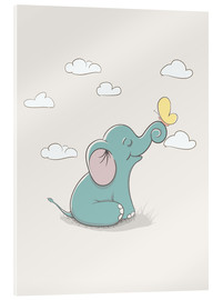 Acrylic print  Little Elephant with Butterfly - Kidz Collection
