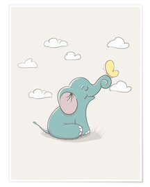 Premium poster  Little elephant with butterfly - Kidz Collection