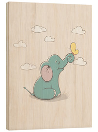 Wood print  Little elephant with butterfly - Kidz Collection