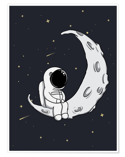Premium poster Little man on the Moon