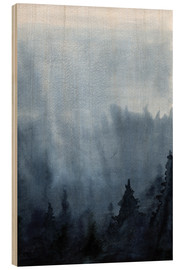 Wood print  Mist over the forest