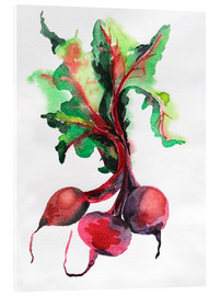 Acrylic glass  Radish watercolor