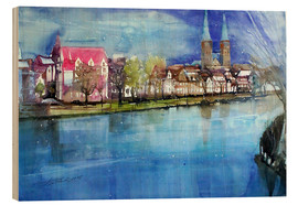 Wood print  Lübeck, painter angle with cathedral - Johann Pickl