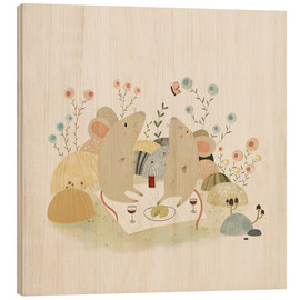 Wood print  Romantic mice - Judith Loske