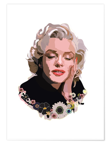 Premium poster Marilyn Monroe With Flowers