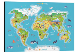 Aluminium print  World map for children (German) - Kidz Collection
