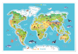 Poster  World map for children (German) - Kidz Collection