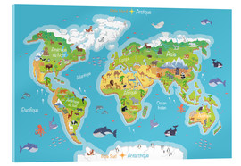 Acrylic print  World map for children (French) - Kidz Collection