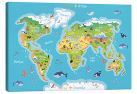 Canvas print  World map for children (French) - Kidz Collection