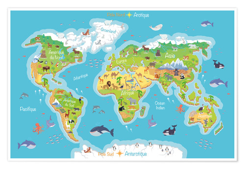 Premium poster World map for children (French)